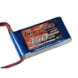 Gens ace 450mAh 7.4V 30C 2S1P Lipo Battery Pack (JST-PHR/Blade)