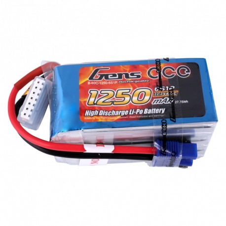 Gens ace 1250mAh 22.2V 60C 6S1P Lipo Battery Pack (Goblin 280 Fireball)